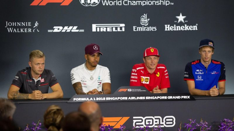 kevin-magnussen-lewis-hamilton-kimi-raikkonen-brendon-hartley-press-conference-singapore